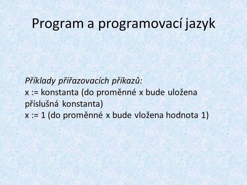 Program a programovací jazyk Příklady přiřazovacích příkazů: x := konstanta (do proměnné x bude uložena příslušná konstanta) x := 1 (do proměnné x bude vložena hodnota 1)