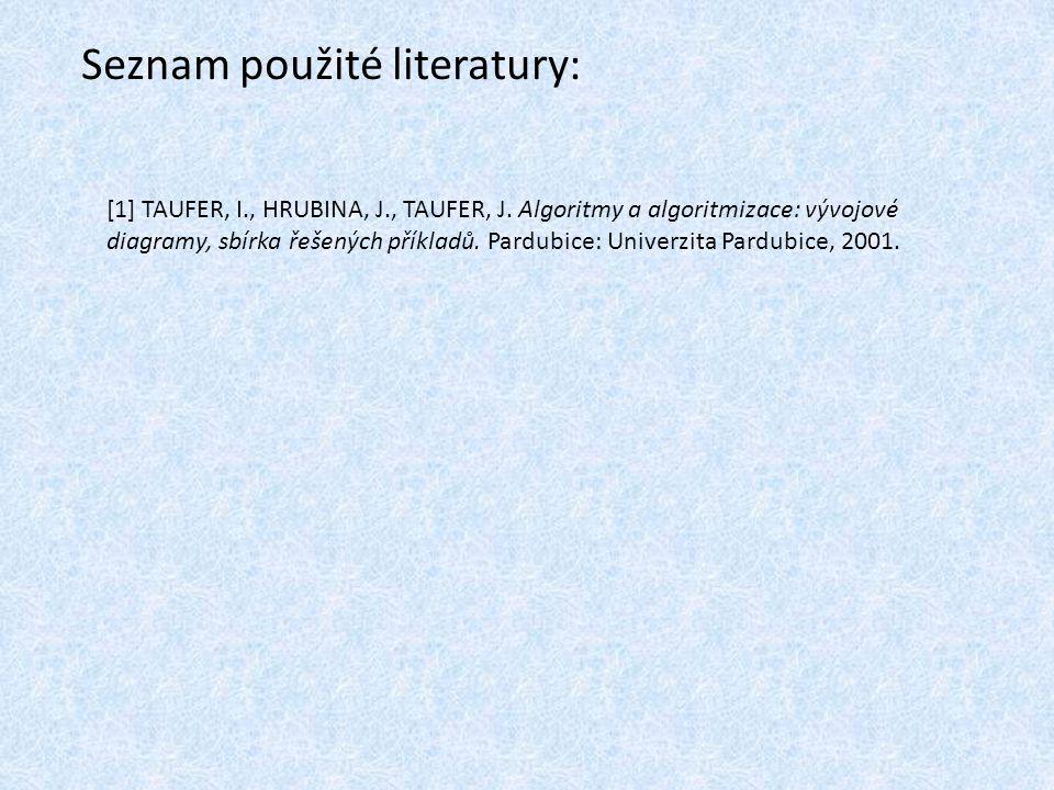 Seznam použité literatury: [1] TAUFER, I., HRUBINA, J., TAUFER, J.