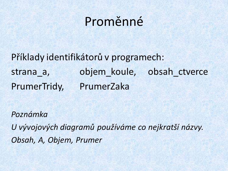 Proměnné Příklady identifikátorů v programech: strana_a, objem_koule, obsah_ctverce PrumerTridy, PrumerZaka Poznámka U vývojových diagramů používáme co nejkratší názvy.
