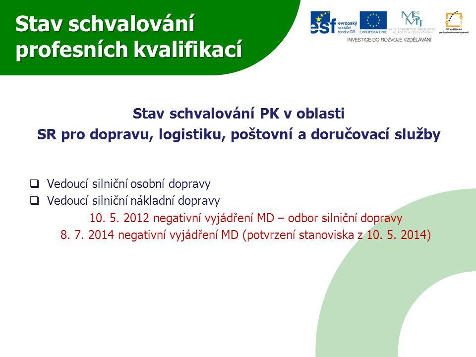 Stav schvalování profesních kvalifikací Stav schvalování PK v oblasti SR pro dopravu, logistiku, poštovní a doručovací služby  Vedoucí silniční osobn