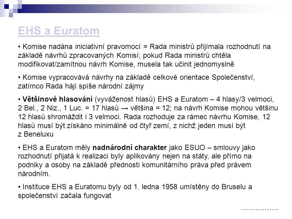 ……..…….. Komise nadána iniciativní pravomocí = Rada ministrů přijímala rozhodnutí na základě návrhů zpracovaných Komisí; pokud Rada ministrů chtěla mo