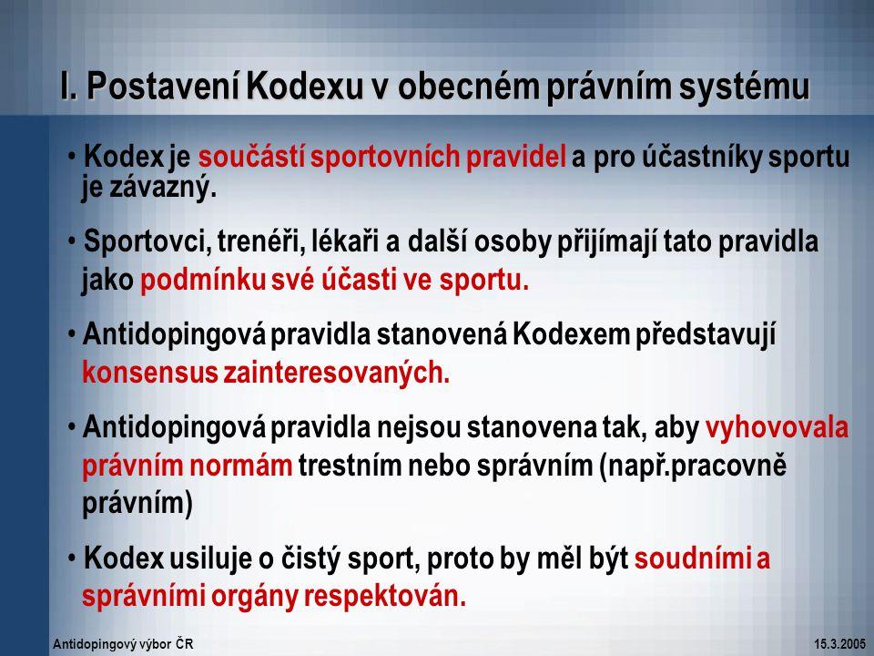 Antidopingový výbor ČR15.3.2005 Kodex je součástí sportovních pravidel a pro účastníky sportu je závazný. Sportovci, trenéři, lékaři a další osoby při