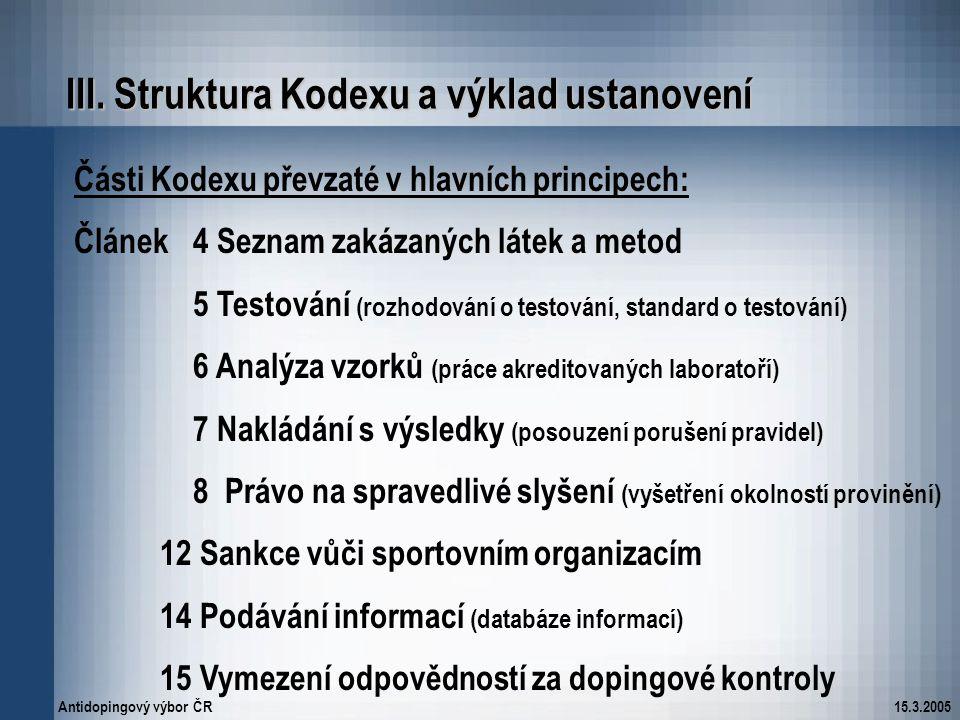 Antidopingový výbor ČR15.3.2005 III. Struktura Kodexu a výklad ustanovení Části Kodexu převzaté v hlavních principech: Článek 4 Seznam zakázaných láte