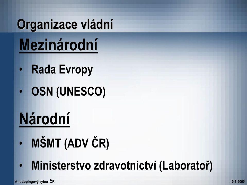 Antidopingový výbor ČR15.3.2005 Organizace vládní Mezinárodní Rada Evropy OSN (UNESCO) Národní MŠMT (ADV ČR) Ministerstvo zdravotnictví (Laboratoř)