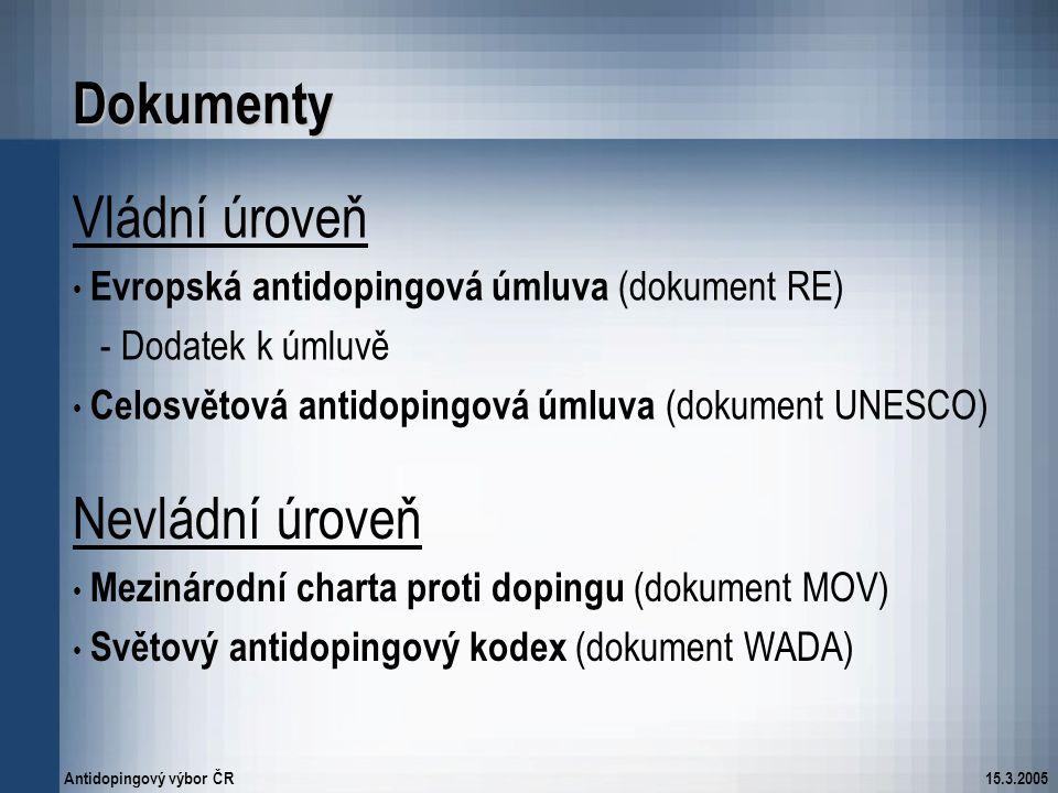 Antidopingový výbor ČR15.3.2005 Dokumenty Vládní úroveň Evropská antidopingová úmluva (dokument RE) - Dodatek k úmluvě Celosvětová antidopingová úmluv