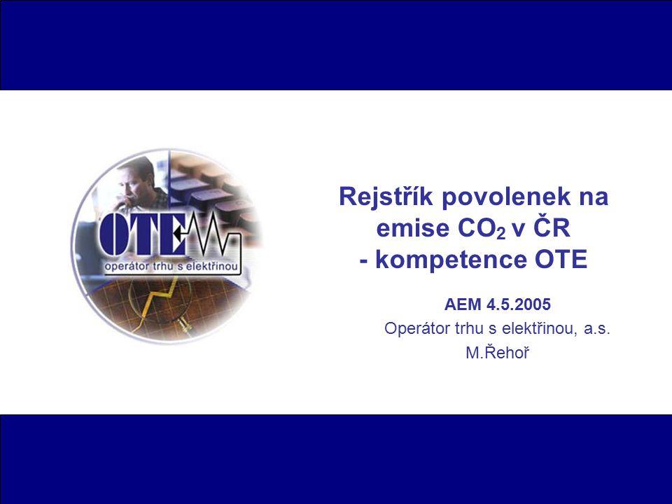 Rejstřík povolenek na emise CO 2 v ČR - kompetence OTE AEM 4.5.2005 Operátor trhu s elektřinou, a.s.