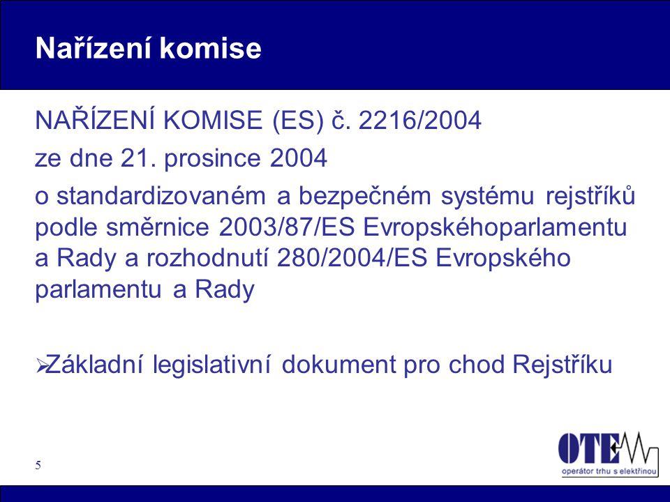 5 Nařízení komise NAŘÍZENÍ KOMISE (ES) č.2216/2004 ze dne 21.
