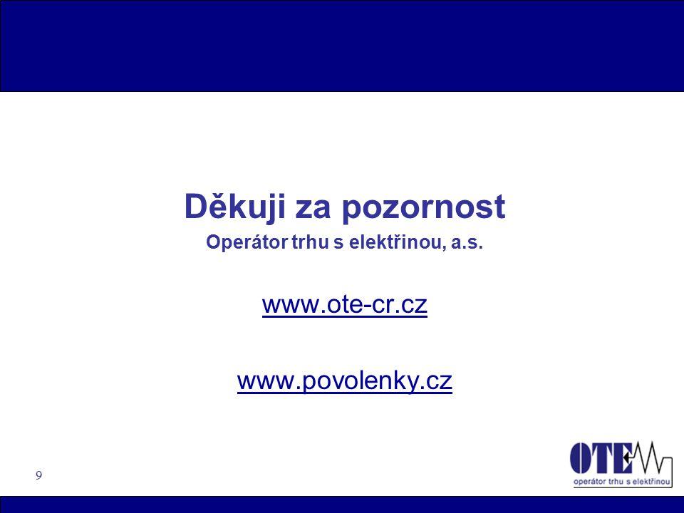 9 Děkuji za pozornost Operátor trhu s elektřinou, a.s. www.ote-cr.cz www.povolenky.cz
