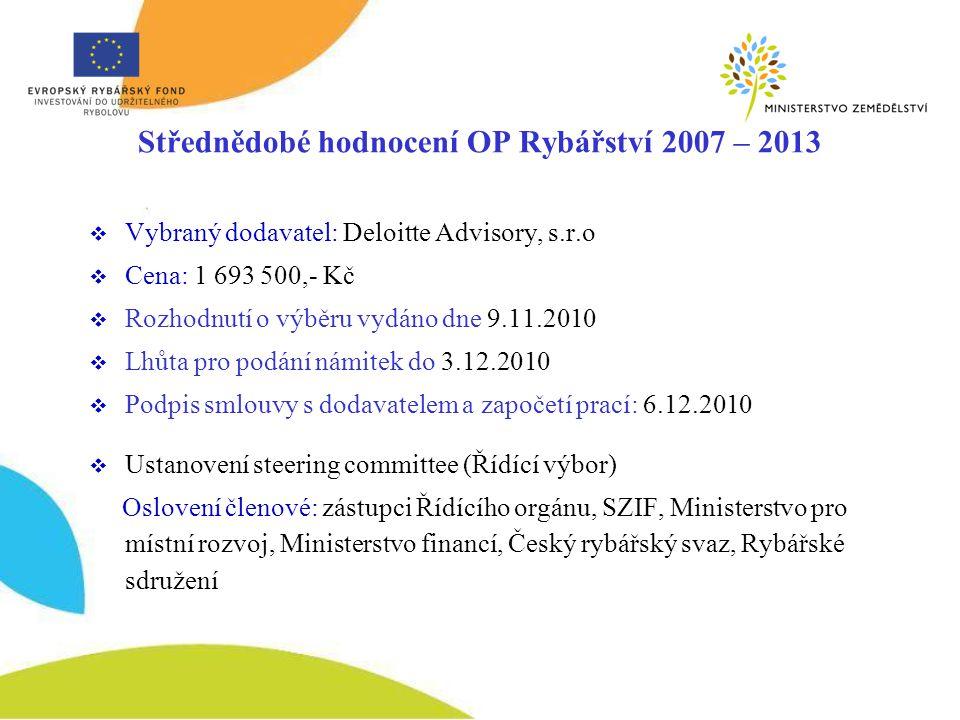 Střednědobé hodnocení OP Rybářství 2007 – 2013  Vybraný dodavatel: Deloitte Advisory, s.r.o  Cena: 1 693 500,- Kč  Rozhodnutí o výběru vydáno dne 9.11.2010  Lhůta pro podání námitek do 3.12.2010  Podpis smlouvy s dodavatelem a započetí prací: 6.12.2010  Ustanovení steering committee (Řídící výbor) Oslovení členové: zástupci Řídícího orgánu, SZIF, Ministerstvo pro místní rozvoj, Ministerstvo financí, Český rybářský svaz, Rybářské sdružení