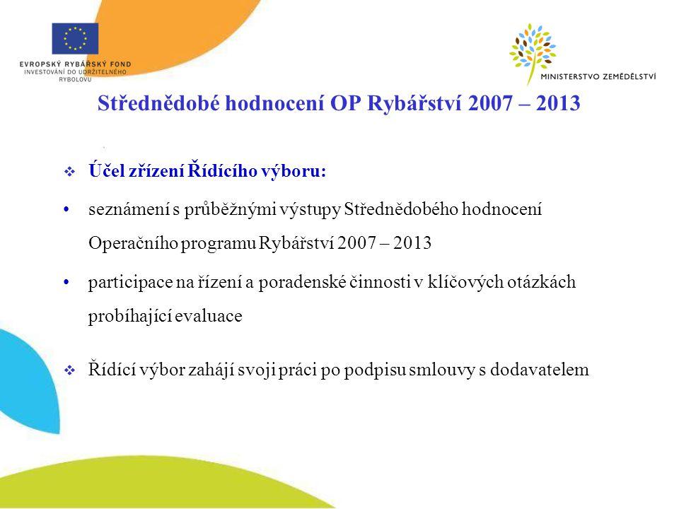 Střednědobé hodnocení OP Rybářství 2007 – 2013 -výstupy práce dodavatele  Klíčovým výstupem bude Závěrečná zpráva o průběhu a dopadu OP Rybářství v první polovině implementačního období, včetně shrnutí podstatných zjištění a doporučení pro období 2011 – 2013  Dílčí součástí této Zprávy jsou: Zpráva o zahájení (návrh metodologie a navrhovaných nástrojů hodnocení, při respektování metodiky EFF) Průběžná zpráva o hodnocení (předložení prvního návrhu Závěrečné zprávy a zjištěných poznatků)