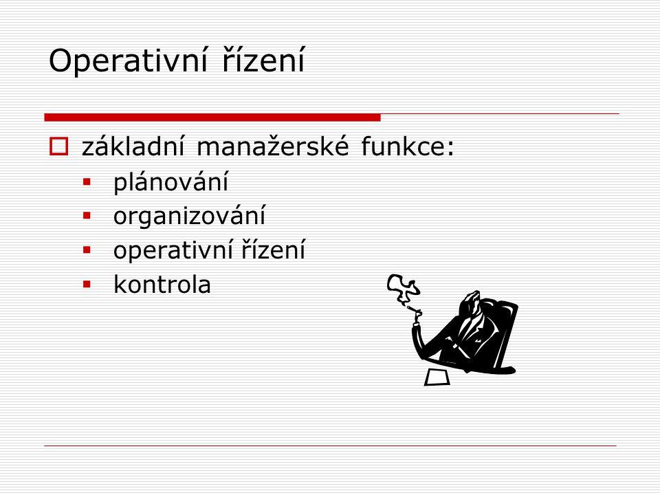 Operativní řízení  základní manažerské funkce:  plánování  organizování  operativní řízení  kontrola