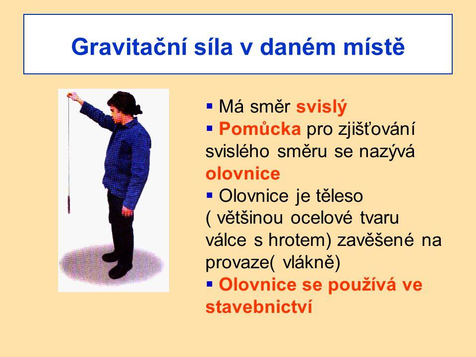 Gravitační síla v daném místě  Má směr svislý  Pomůcka pro zjišťování svislého směru se nazývá olovnice  Olovnice je těleso ( většinou ocelové tvar