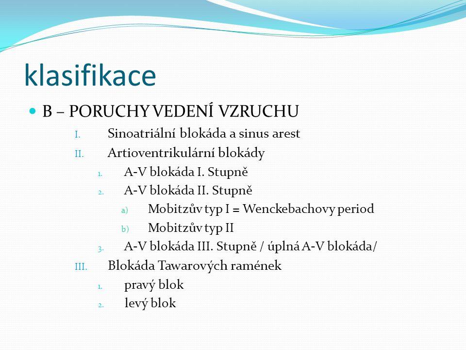 A – PORUCHY TVORBY A FREKVENCE VZRUCHU I.sinusová a) Tachykardie > 90 min.
