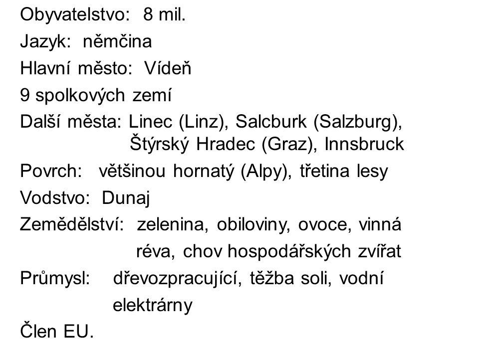 Obyvatelstvo: 8 mil. Jazyk: němčina Hlavní město: Vídeň 9 spolkových zemí Další města: Linec (Linz), Salcburk (Salzburg), Štýrský Hradec (Graz), Innsb