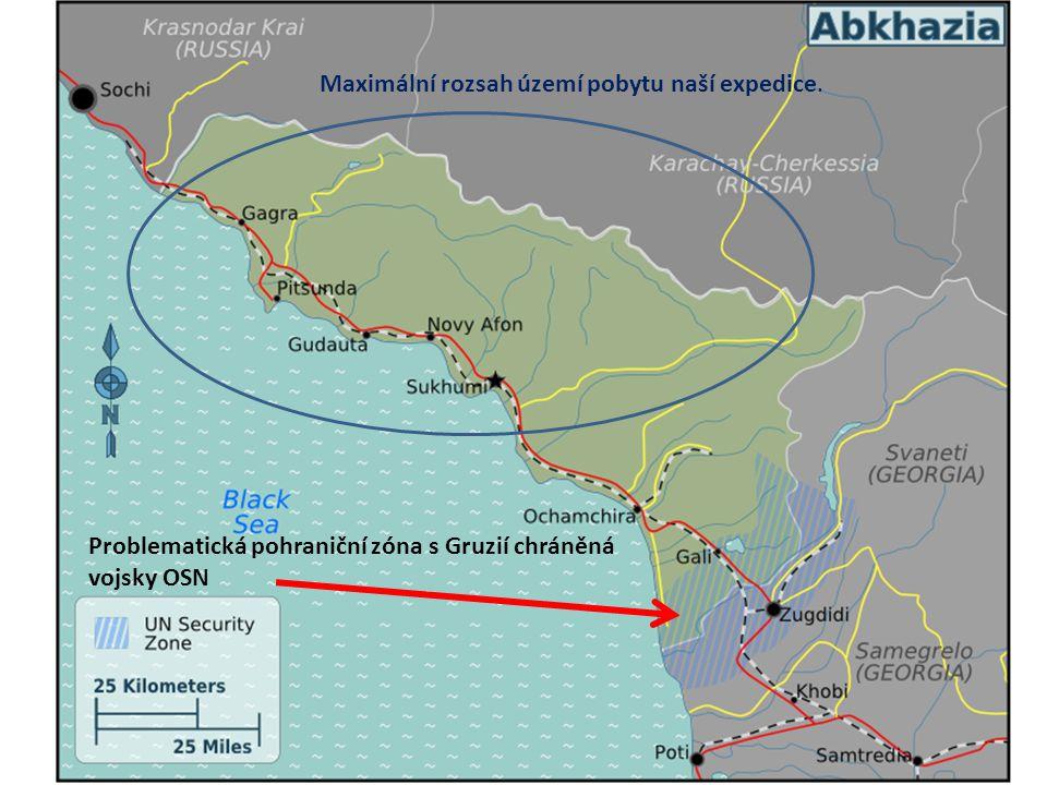 Problematická pohraniční zóna s Gruzií chráněná vojsky OSN Maximální rozsah území pobytu naší expedice.