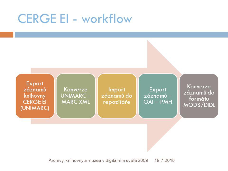CERGE EI - workflow 18.7.2015Archivy, knihovny a muzea v digitálním světě 2009 Export záznamů knihovny CERGE EI (UNIMARC) Konverze UNIMARC – MARC XML Import záznamů do repozitáře Export záznamů – OAI – PMH Konverze záznamů do formátu MODS/DIDL