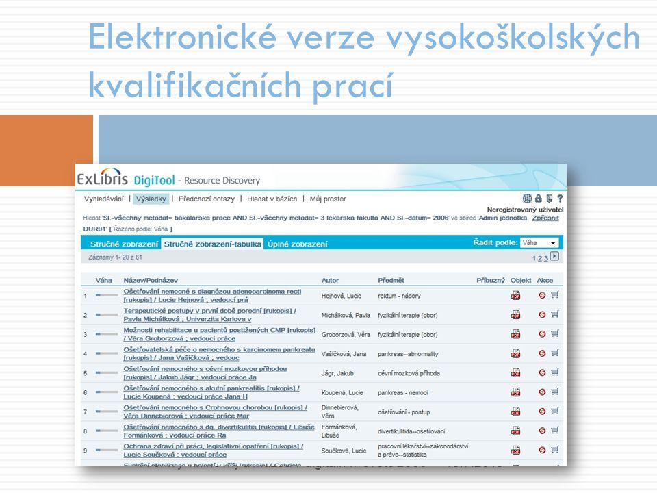 Elektronické verze vysokoškolských kvalifikačních prací 18.7.2015Archivy, knihovny a muzea v digitálním světě 2009