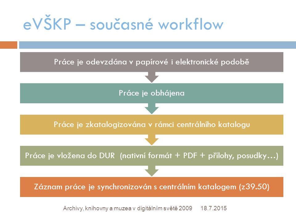 eVŠKP – současné workflow 18.7.2015Archivy, knihovny a muzea v digitálním světě 2009 Záznam práce je synchronizován s centrálním katalogem (z39.50) Práce je vložena do DUR (nativní formát + PDF + přílohy, posudky…) Práce je zkatalogizována v rámci centrálního katalogu Práce je obhájena Práce je odevzdána v papírové i elektronické podobě