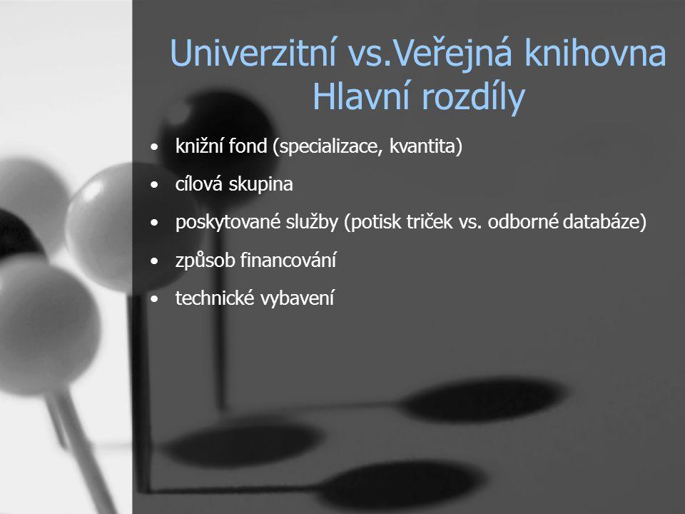 knižní fond (specializace, kvantita) cílová skupina poskytované služby (potisk triček vs. odborné databáze) způsob financování technické vybavení Univ