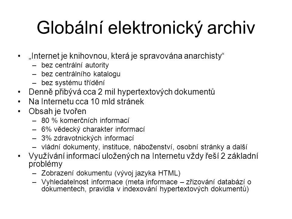 """Globální elektronický archiv """"Internet je knihovnou, která je spravována anarchisty –bez centrální autority –bez centrálního katalogu –bez systému třídění Denně přibývá cca 2 mil hypertextových dokumentů Na Internetu cca 10 mld stránek Obsah je tvořen –80 % komerčních informací –6% vědecký charakter informací –3% zdravotnických informací –vládní dokumenty, instituce, náboženství, osobní stránky a další Využívání informací uložených na Internetu vždy řeší 2 základní problémy –Zobrazení dokumentu (vývoj jazyka HTML) –Vyhledatelnost informace (meta informace – zřizování databází o dokumentech, pravidla v indexování hypertextových dokumentů)"""