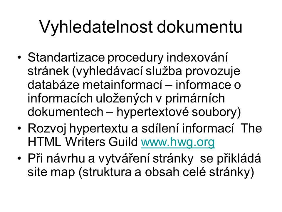 Vyhledatelnost dokumentu Standartizace procedury indexování stránek (vyhledávací služba provozuje databáze metainformací – informace o informacích ulo