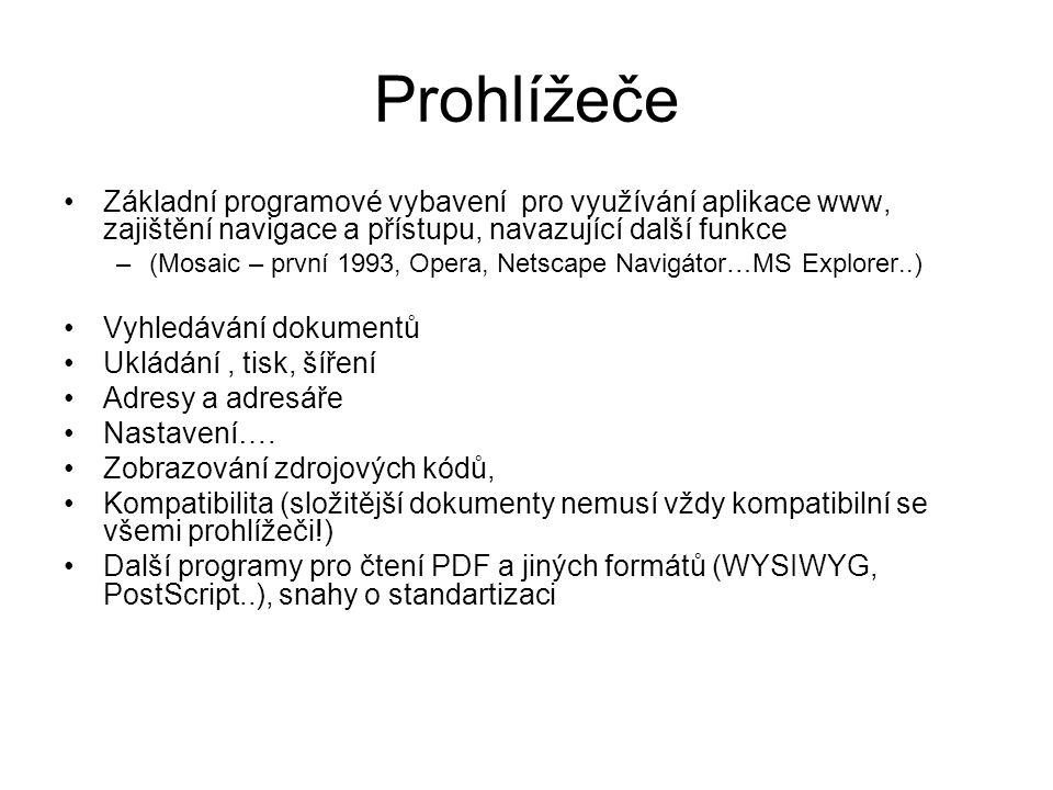 Prohlížeče Základní programové vybavení pro využívání aplikace www, zajištění navigace a přístupu, navazující další funkce –(Mosaic – první 1993, Opera, Netscape Navigátor…MS Explorer..) Vyhledávání dokumentů Ukládání, tisk, šíření Adresy a adresáře Nastavení….