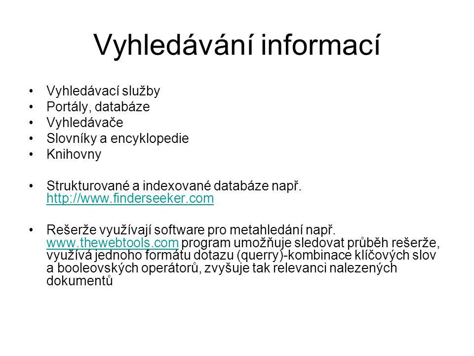 Vyhledávání informací Vyhledávací služby Portály, databáze Vyhledávače Slovníky a encyklopedie Knihovny Strukturované a indexované databáze např. http