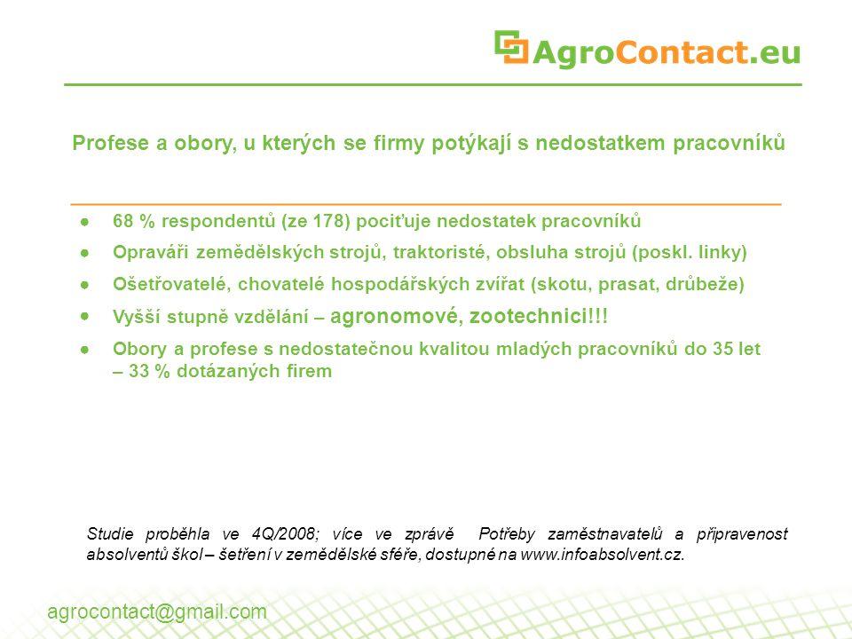 Perspektivní obory Skupiny oborů % Zemědělství35 Řemesla33 Zemědělství-D32 Stavebnictví-D28 … IT12 agrocontact@gmail.com