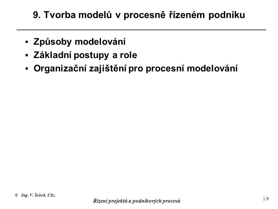 © Ing. V. Šebek, CSc. Řízení projektů a podnikových procesů 1/9 9.
