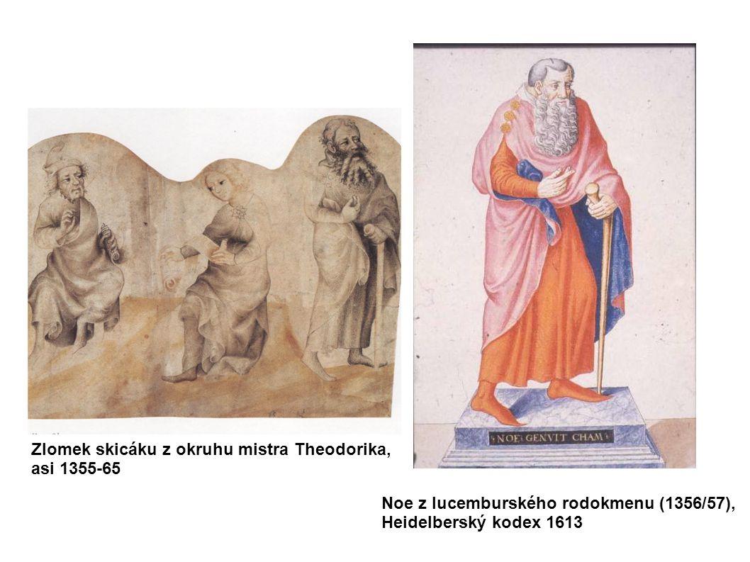 Noe z lucemburského rodokmenu (1356/57), Heidelberský kodex 1613 Zlomek skicáku z okruhu mistra Theodorika, asi 1355-65