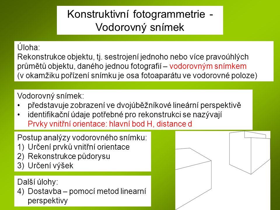 Konstruktivní fotogrammetrie - Vodorovný snímek Úloha: Rekonstrukce objektu, tj. sestrojení jednoho nebo více pravoúhlých průmětů objektu, daného jedn