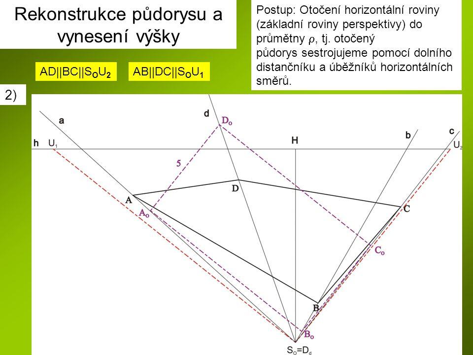 Postup: Otočení horizontální roviny (základní roviny perspektivy) do průmětny , tj. otočený půdorys sestrojujeme pomocí dolního distančníku a úběžník