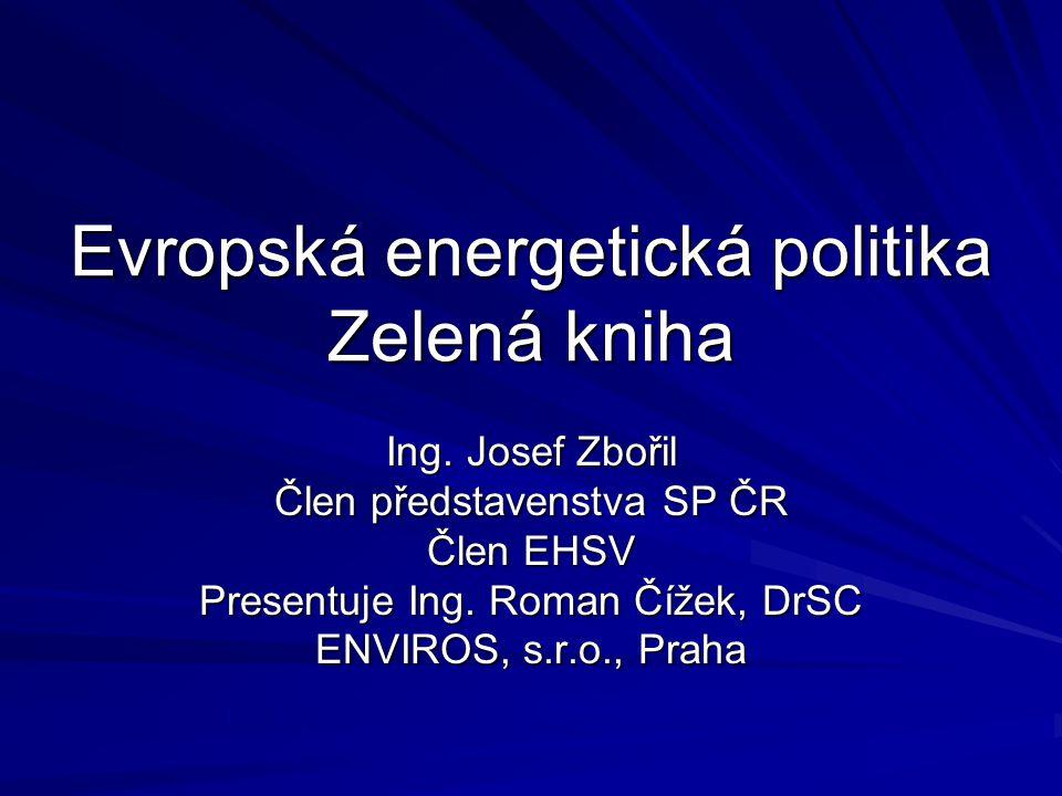 Evropská energetická politika Zelená kniha Ing.
