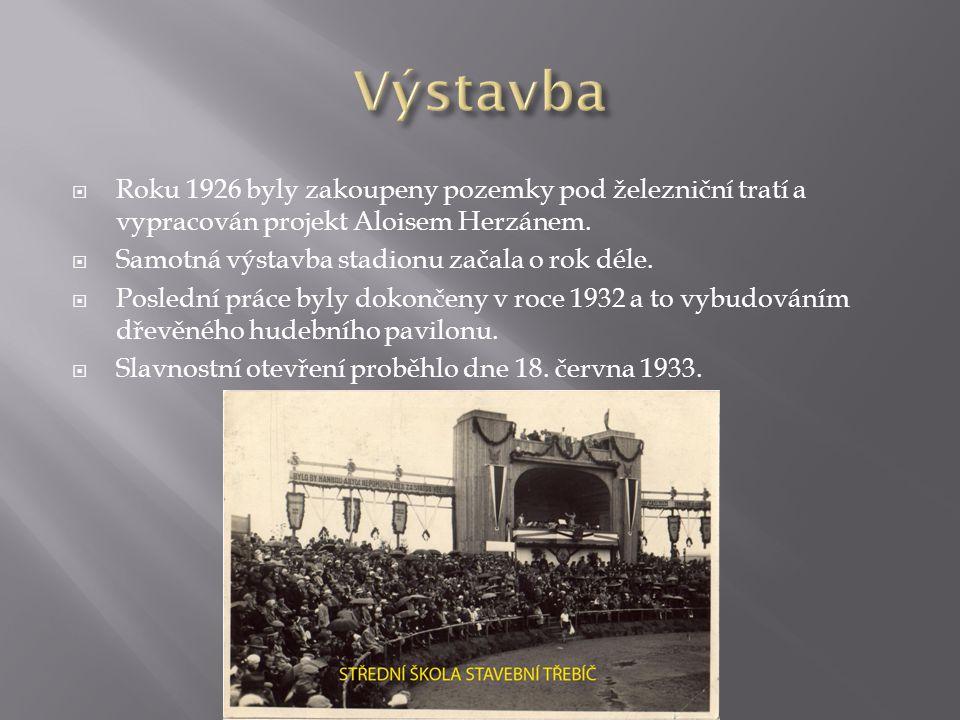  Roku 1926 byly zakoupeny pozemky pod železniční tratí a vypracován projekt Aloisem Herzánem.  Samotná výstavba stadionu začala o rok déle.  Posled