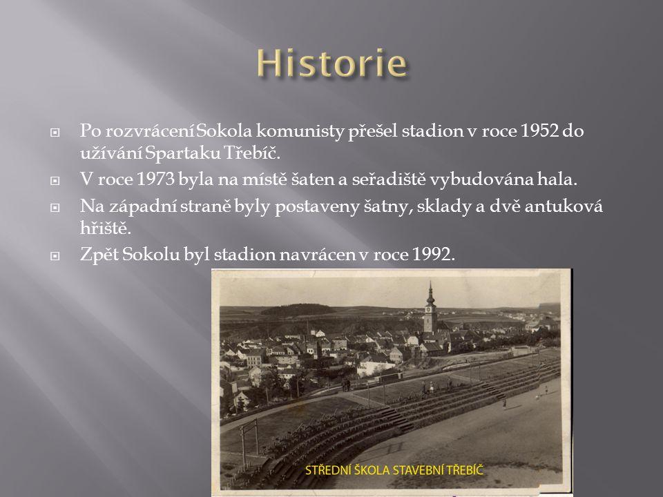  Po rozvrácení Sokola komunisty přešel stadion v roce 1952 do užívání Spartaku Třebíč.  V roce 1973 byla na místě šaten a seřadiště vybudována hala.
