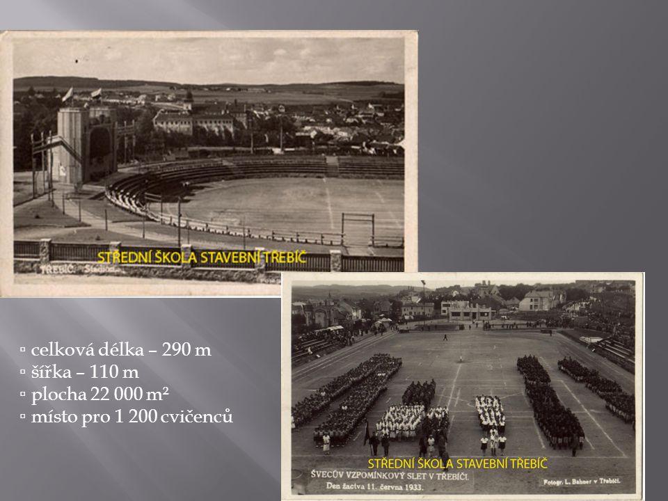 ▫ celková délka – 290 m ▫ šířka – 110 m ▫ plocha 22 000 m² ▫ místo pro 1 200 cvičenců