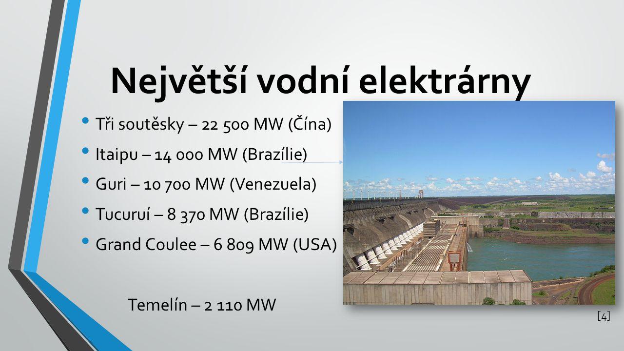 Největší vodní elektrárny Tři soutěsky – 22 500 MW (Čína) Itaipu – 14 000 MW (Brazílie) Guri – 10 700 MW (Venezuela) Tucuruí – 8 370 MW (Brazílie) Gra