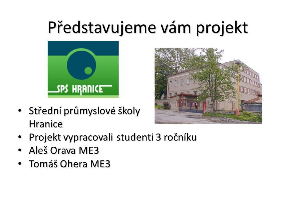 Představujeme vám projekt Střední průmyslové školy Střední průmyslové školy Hranice Hranice Projekt vypracovali studenti 3 ročníku Projekt vypracovali