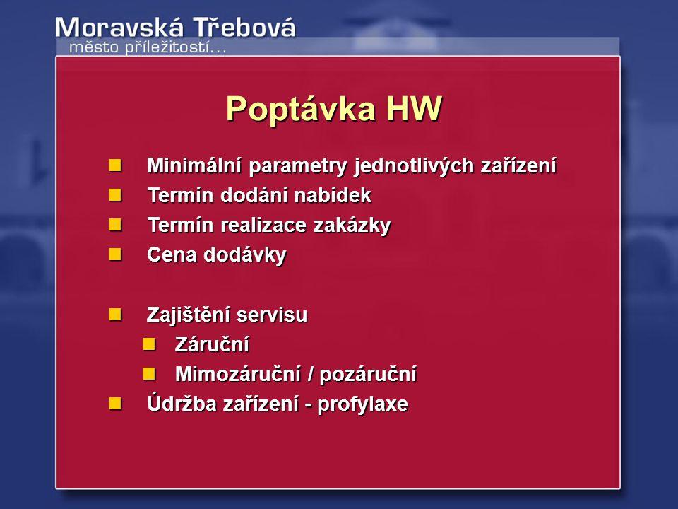 Poptávka HW Minimální parametry jednotlivých zařízení Minimální parametry jednotlivých zařízení Termín dodání nabídek Termín dodání nabídek Termín rea