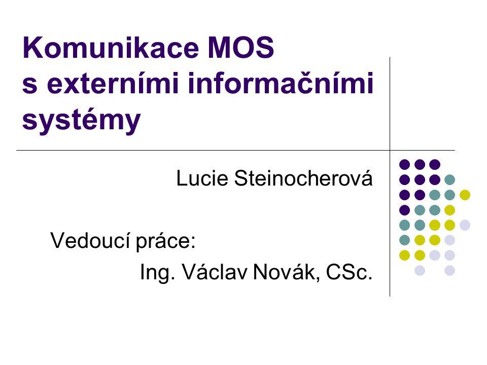 Komunikace MOS s externími informačními systémy Lucie Steinocherová Vedoucí práce: Ing. Václav Novák, CSc.