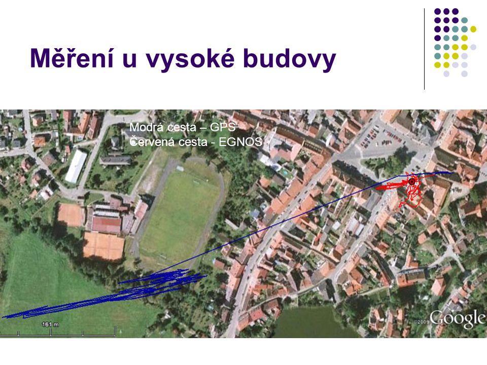 Měření u vysoké budovy Modrá cesta – GPS Červená cesta - EGNOS