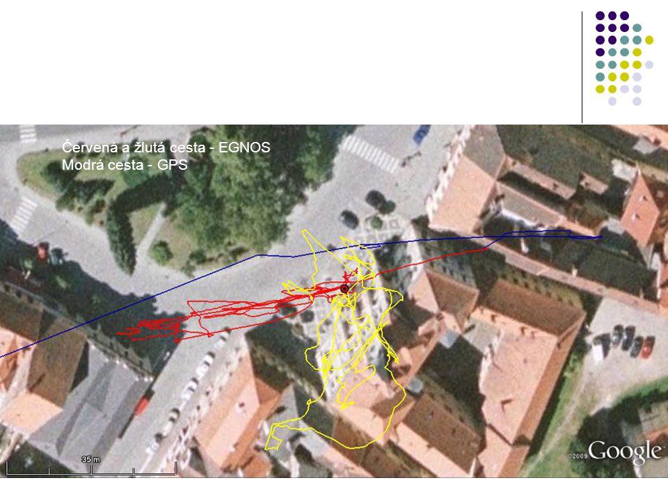 Červená a žlutá cesta - EGNOS Modrá cesta - GPS