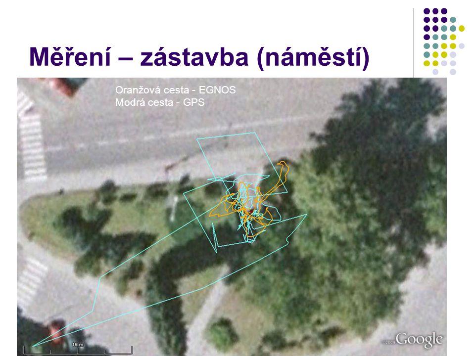 Měření – zástavba (náměstí) Oranžová cesta - EGNOS Modrá cesta - GPS
