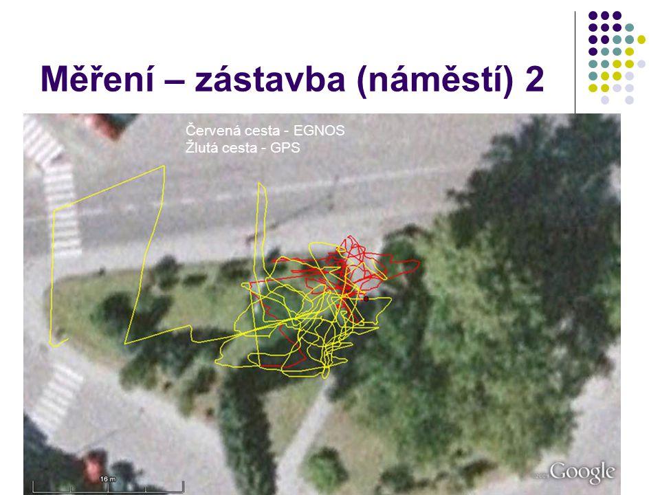 Měření – zástavba (náměstí) 2 Červená cesta - EGNOS Žlutá cesta - GPS