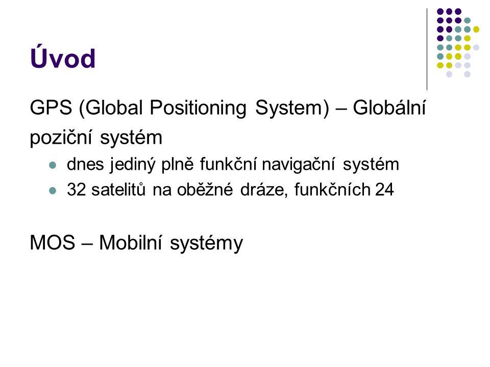 Úvod GPS (Global Positioning System) – Globální poziční systém dnes jediný plně funkční navigační systém 32 satelitů na oběžné dráze, funkčních 24 MOS