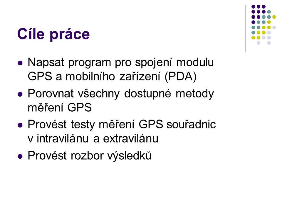 Metodika Metody měření GPS a jejich přesnost Program pro spojení GPS a MOS Hp iPAQ Pocket PC h5500 series i-tec, model BT-308 (Bluetooth) Windows Mobile Signál GPS (NMEA 0183 - Národní asociace pro námořní elektroniku) $GPRMC,081836,A,3751.65,S,14507.36,E,000.0,360.0,13 0998,011.3,E*62 Samotné měření Zvolit vhodné lokality – volný prostor, zástavba, les, velmi blízko budovy, pohyb