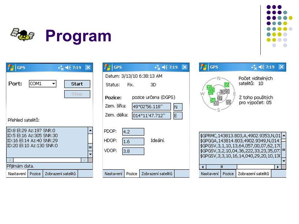 Přehled služeb satelitní navigace GPSDGPSEGNOSWAASGalileo HVHVHVHV 50% 1,621 - 3 2 - 41 - 3 1,42 4 - 158 - 35 95% 3,55,52 - 936 (hodnoty v tabulce jsou v metrech) CZEPOS – český systém referenčních stanic, komerční služba - přesnost několik centimetrů až milimetry