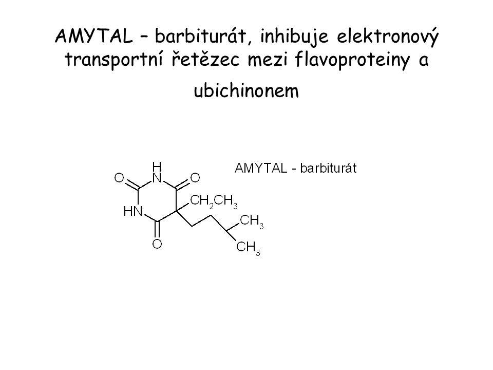 AMYTAL – barbiturát, inhibuje elektronový transportní řetězec mezi flavoproteiny a ubichinonem
