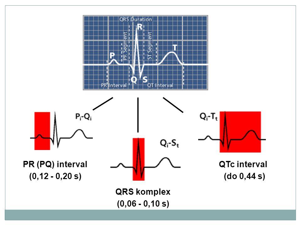 PR (PQ) interval (0,12 - 0,20 s) QRS komplex (0,06 - 0,10 s) QTc interval (do 0,44 s)