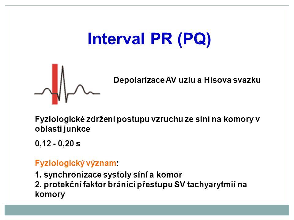 Interval PR (PQ) Depolarizace AV uzlu a Hisova svazku Fyziologické zdržení postupu vzruchu ze síní na komory v oblasti junkce 0,12 - 0,20 s Fyziologic